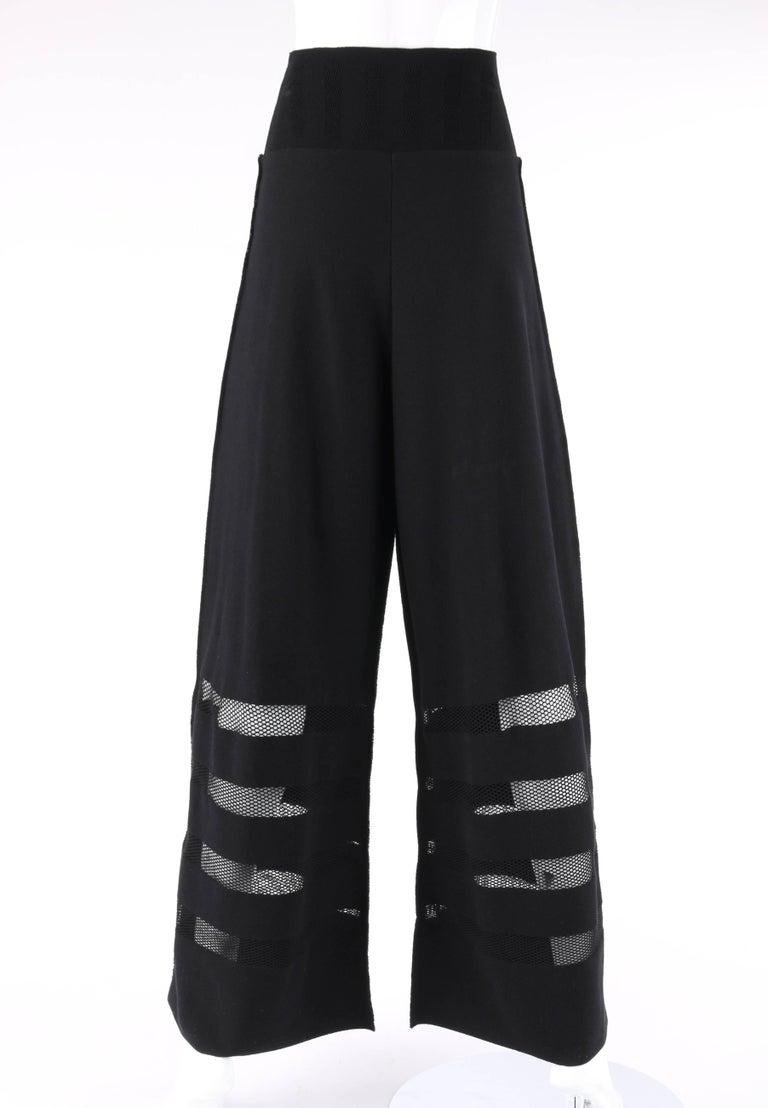 Women's ISSEY MIYAKE A-Poc Inside DAI FUJIWARA Black Knit Mesh Detail Wide Leg Pants For Sale