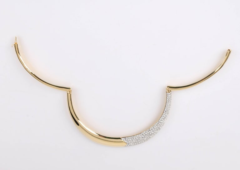 LANVIN c.1970's Gold & Crystal Rhinestone Modernist Collar Choker Necklace In Excellent Condition For Sale In Thiensville, WI