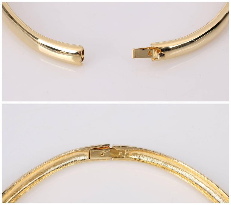 LANVIN c.1970's Gold & Crystal Rhinestone Modernist Collar Choker Necklace For Sale 2
