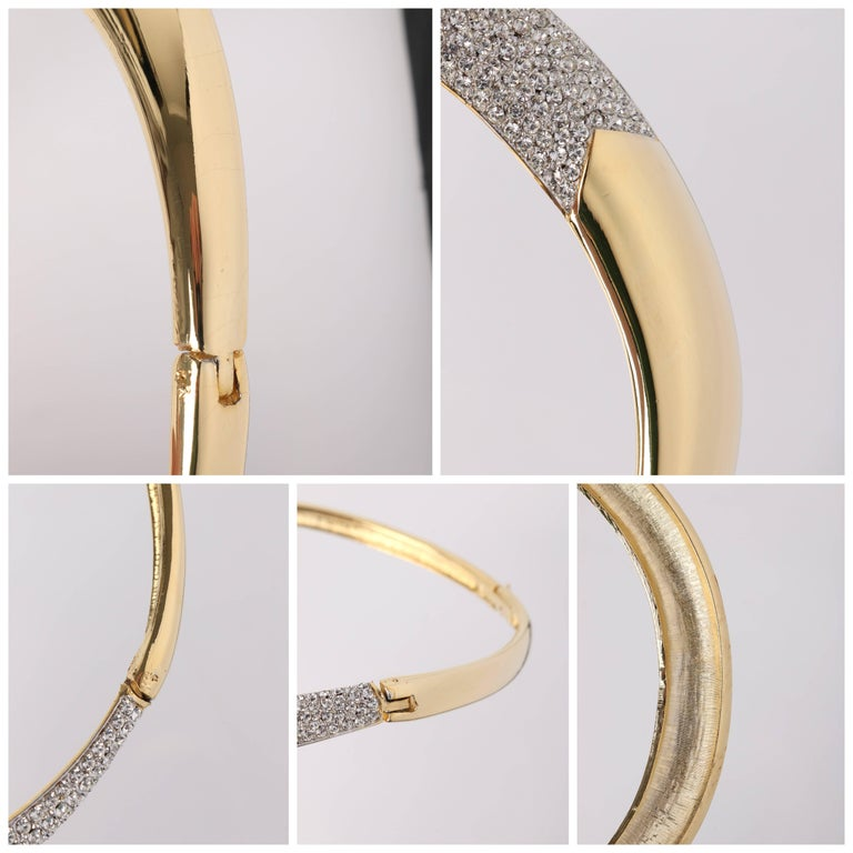 LANVIN c.1970's Gold & Crystal Rhinestone Modernist Collar Choker Necklace For Sale 3