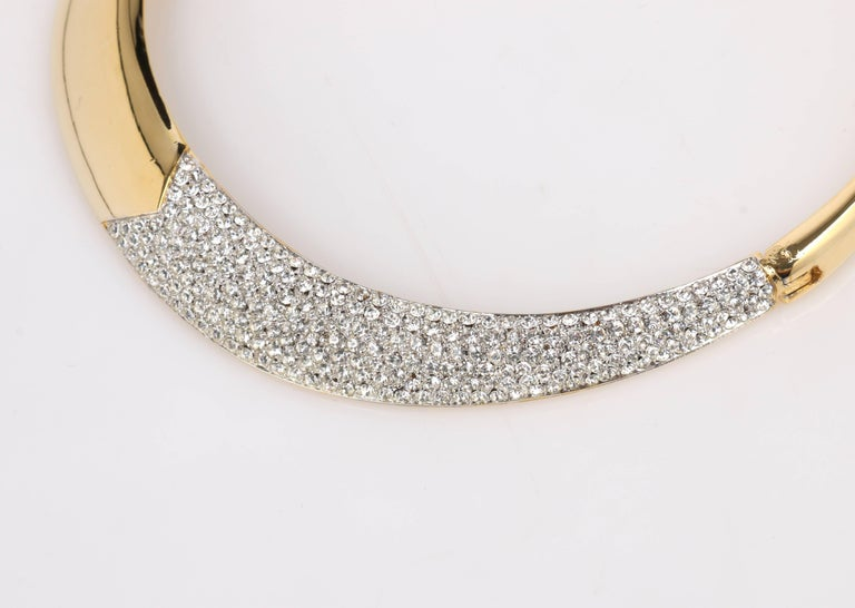 Women's LANVIN c.1970's Gold & Crystal Rhinestone Modernist Collar Choker Necklace For Sale