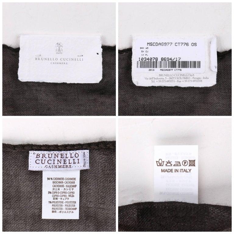 Brunello Cucinelli Cashmere A/W 2013 Brown Cashmere Ombre Plaid Large Wrap Scarf For Sale 1