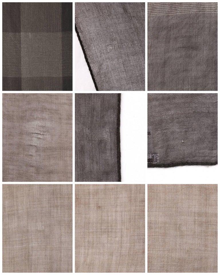 Brunello Cucinelli Cashmere A/W 2013 Brown Cashmere Ombre Plaid Large Wrap Scarf For Sale 2