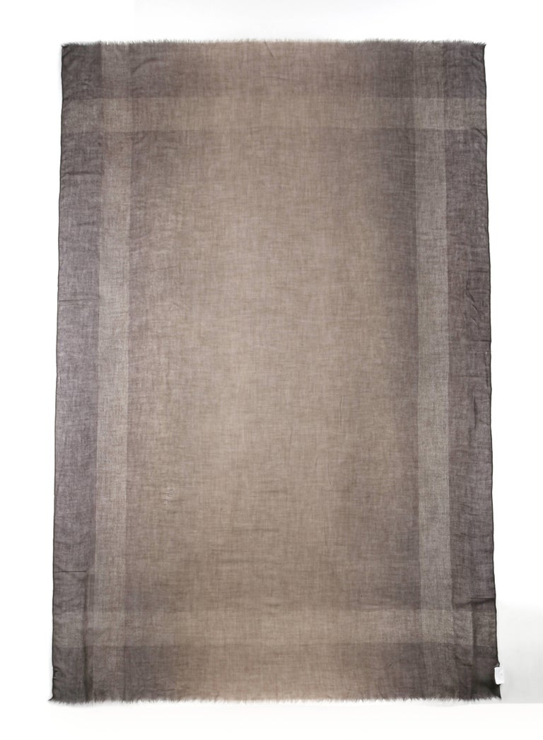 Brunello Cucinelli Cashmere A/W 2013 Brown Cashmere Ombre Plaid Large Wrap Scarf In New Condition For Sale In Thiensville, WI