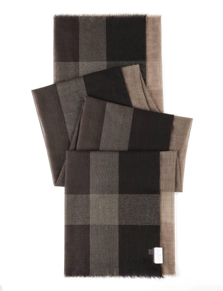 Black Brunello Cucinelli Cashmere A/W 2013 Brown Cashmere Ombre Plaid Large Wrap Scarf For Sale