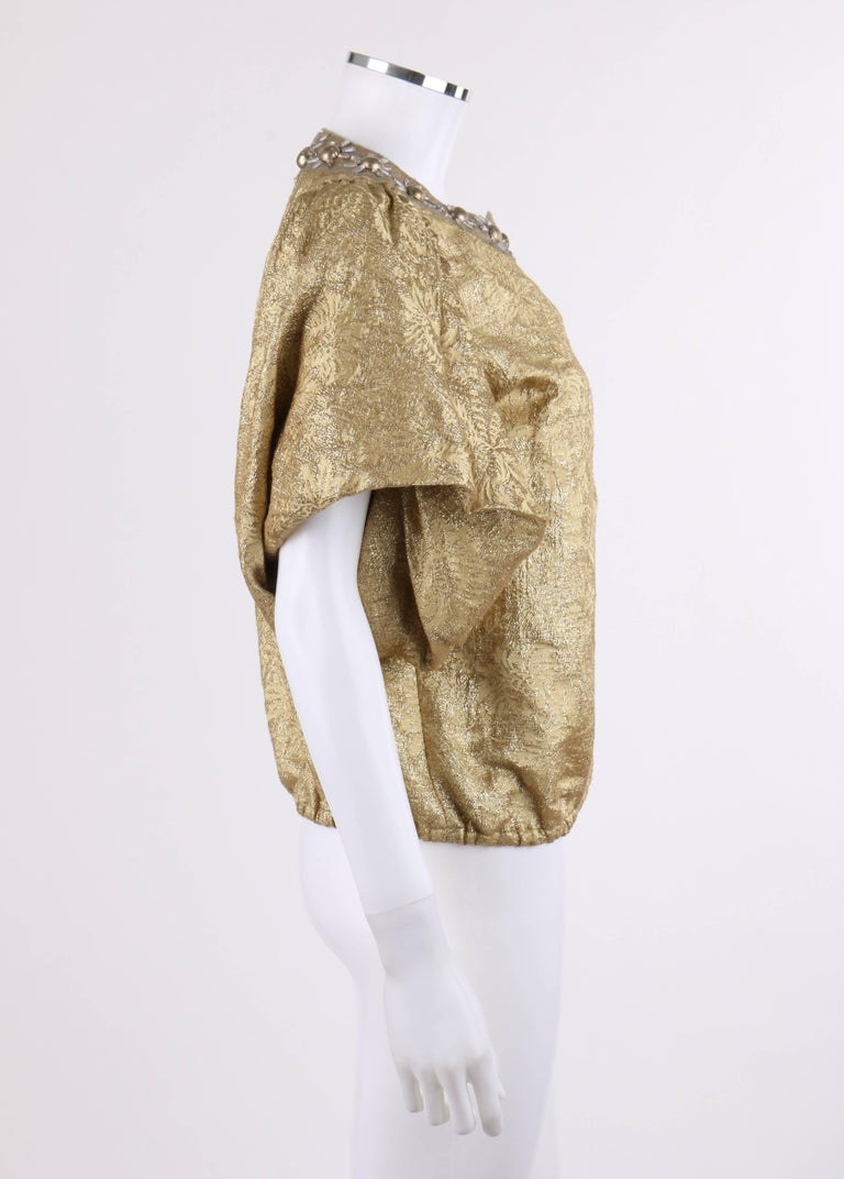 478fb652dd0 Beige LANVIN S/S 2007 Metallic Silk Floral Brocade Flounced Sleeve Jacket  For Sale