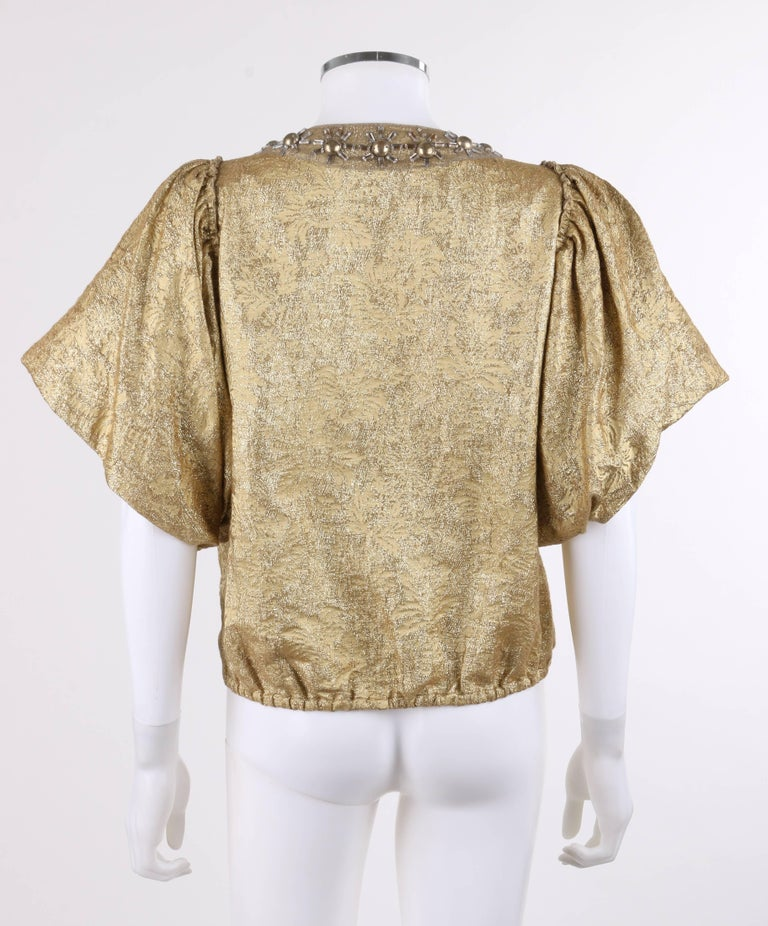 7e54829f35d LANVIN S/S 2007 Metallic Silk Floral Brocade Flounced Sleeve Jacket In  Excellent Condition For