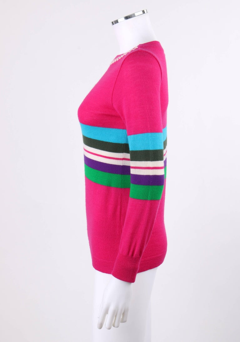 EMILIO PUCCI c.1970's Fuchsia Pink Wool Striped Knit Sweater Crewneck Top For Sale 1