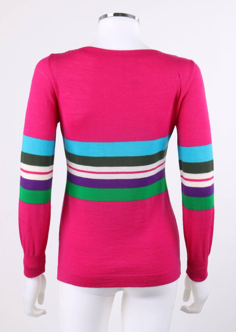 Women's EMILIO PUCCI c.1970's Fuchsia Pink Wool Striped Knit Sweater Crewneck Top For Sale
