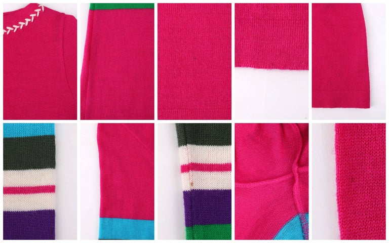 EMILIO PUCCI c.1970's Fuchsia Pink Wool Striped Knit Sweater Crewneck Top For Sale 3