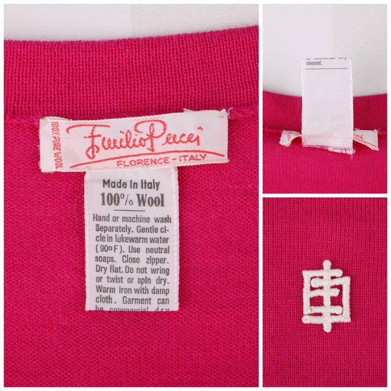 EMILIO PUCCI c.1970's Fuchsia Pink Wool Striped Knit Sweater Crewneck Top For Sale 2