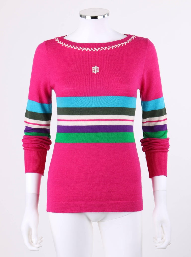 Vintage Emilio Pucci c.1970's fuchsia pink wool striped sweater.  Fuchsia pink wool with multi-color horizontal striped pattern across center in shades of teal, green, white, and purple. White center front