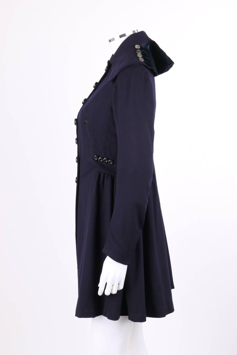Women's COUTURE c.1910's Edwardian WWI Navy Blue Wool Military Walking Coat For Sale