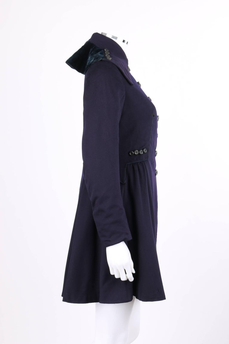 Black COUTURE c.1910's Edwardian WWI Navy Blue Wool Military Walking Coat For Sale