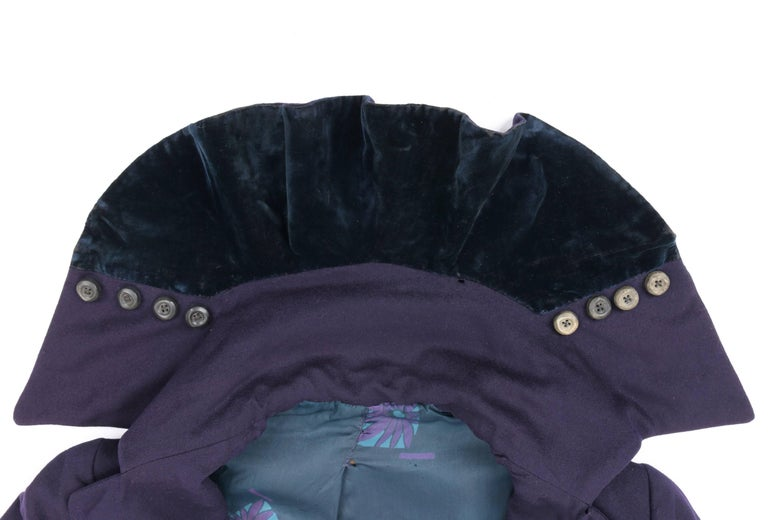 COUTURE c.1910's Edwardian WWI Navy Blue Wool Military Walking Coat For Sale 2