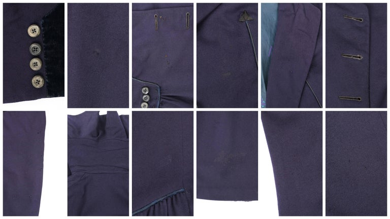 COUTURE c.1910's Edwardian WWI Navy Blue Wool Military Walking Coat For Sale 3