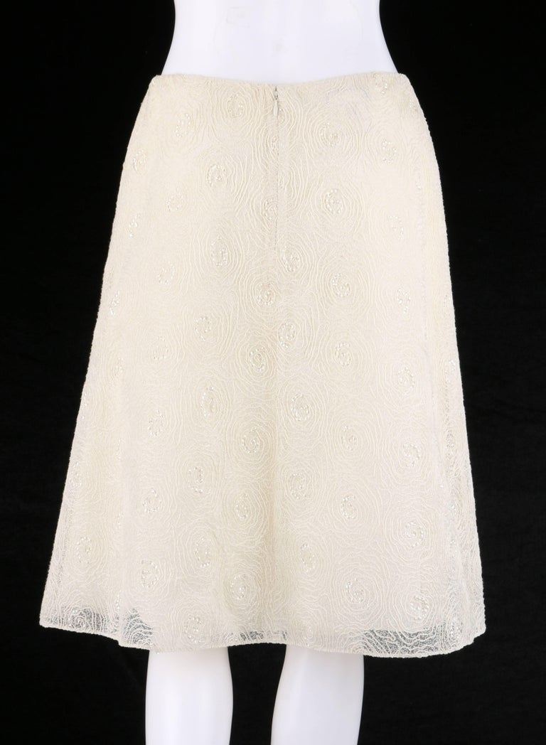 CHANEL S/S 2002 Cream Floral Embroidered Sequin Embellished Skirt  In Excellent Condition For Sale In Thiensville, WI