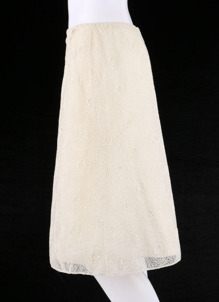 Women's CHANEL S/S 2002 Cream Floral Embroidered Sequin Embellished Skirt  For Sale