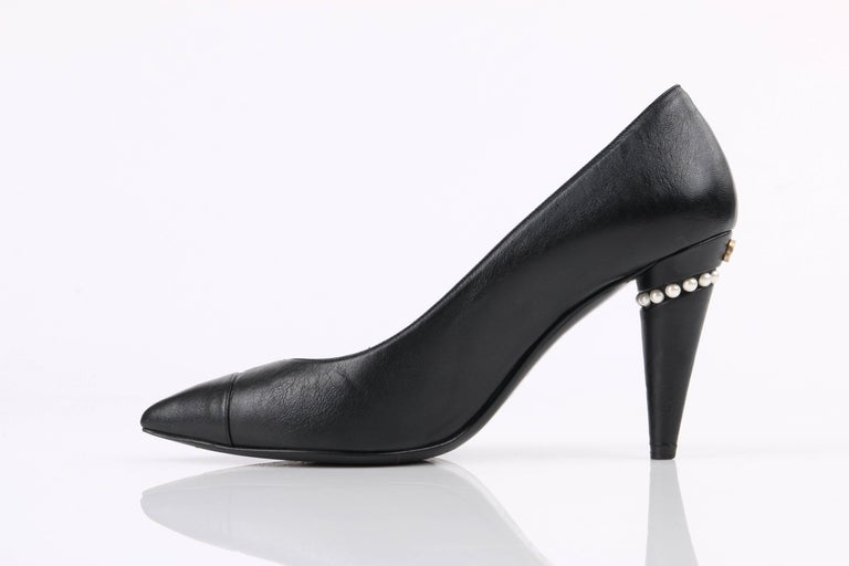 961546733d CHANEL Cruise 2015 Black Leather Pearl Embellished Pointed Toe Pumps Heels  In Excellent Condition For Sale