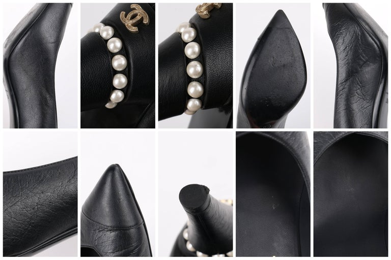 b496e3f5bb CHANEL Cruise 2015 Black Leather Pearl Embellished Pointed Toe Pumps Heels  For Sale 6