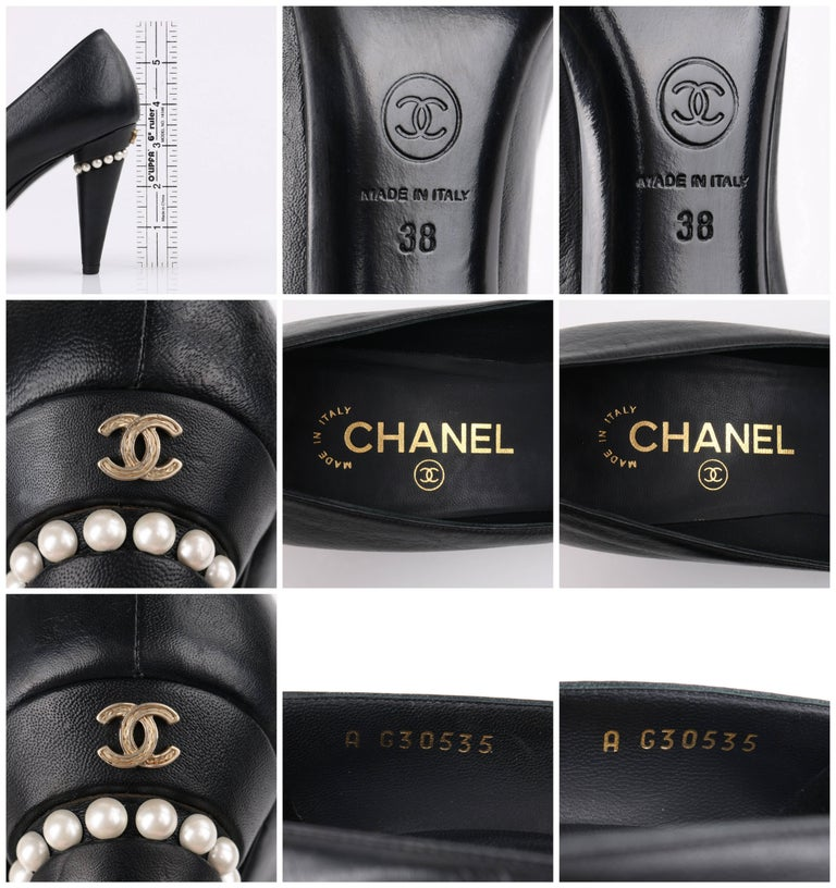 33ed771e05 CHANEL Cruise 2015 Black Leather Pearl Embellished Pointed Toe Pumps Heels  For Sale 5