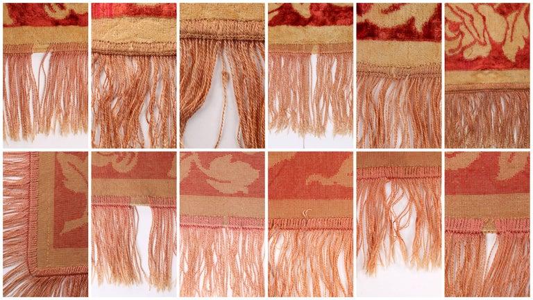 Art Nouveau Edwardian Red Floral Rose Velvet Fringed Bedspread / Throw c1910s For Sale 3