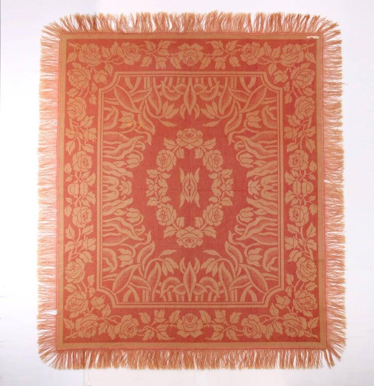 Orange Art Nouveau Edwardian Red Floral Rose Velvet Fringed Bedspread / Throw c1910s For Sale