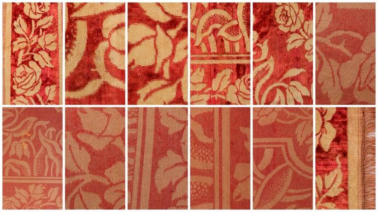Art Nouveau Edwardian Red Floral Rose Velvet Fringed Bedspread / Throw c1910s For Sale 2