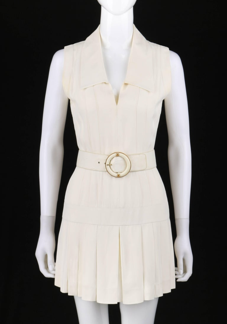 Chanel Boutique C 1980s White Silk Pleated Drop Waist