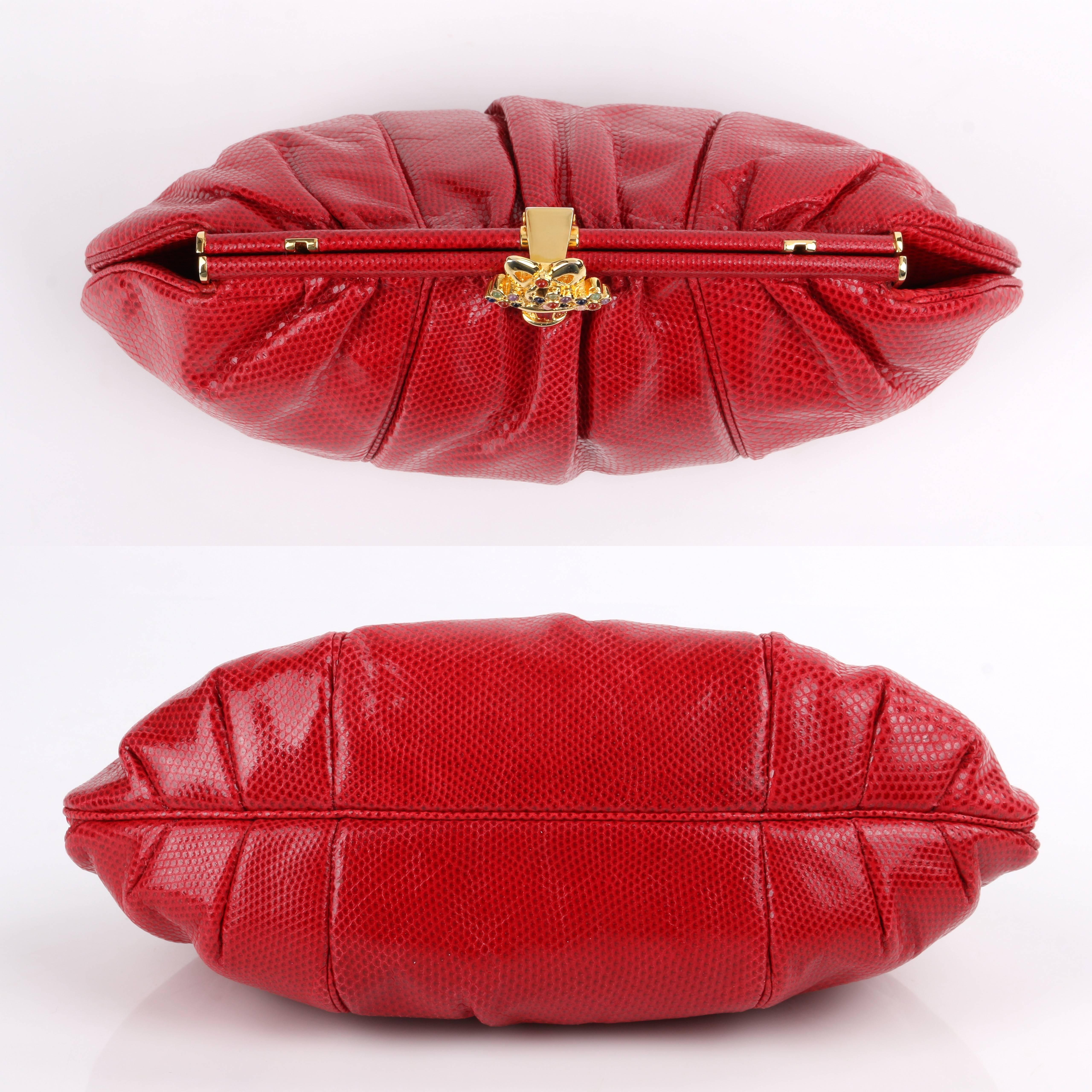 Judith Leiber C.1980s Red Lizard Skin Leather Frame Top Evening Bag Purse eE6k5