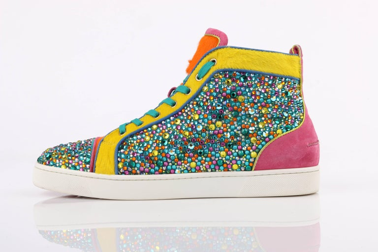 "Beige CHRISTIAN LOUBOUTIN ""Louis Strass"" Multicolor Swarvoski Crystal Hi Top Sneakers For Sale"