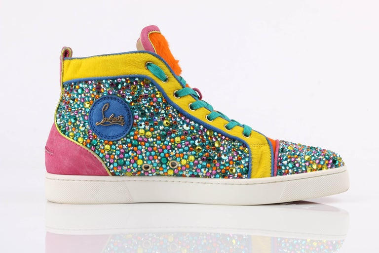 "CHRISTIAN LOUBOUTIN ""Louis Strass"" Multicolor Swarvoski Crystal Hi Top Sneakers In Excellent Condition For Sale In Thiensville, WI"