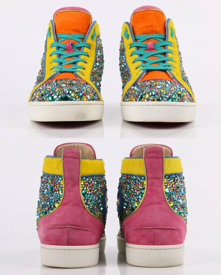 "CHRISTIAN LOUBOUTIN ""Louis Strass"" Multicolor Swarvoski Crystal Hi Top Sneakers For Sale 1"