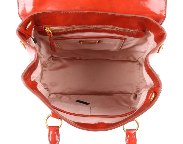 Women's MIU MIU PRADA A/W 2012 Burnt Orange Spazzolato Leather Flap Top Handbag Purse For Sale