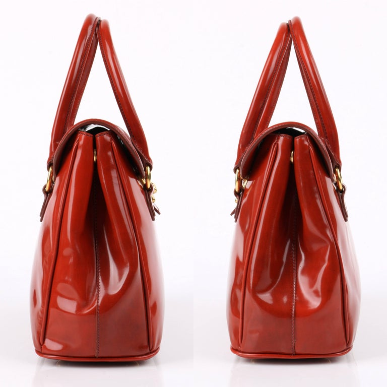 Red MIU MIU PRADA A/W 2012 Burnt Orange Spazzolato Leather Flap Top Handbag Purse For Sale