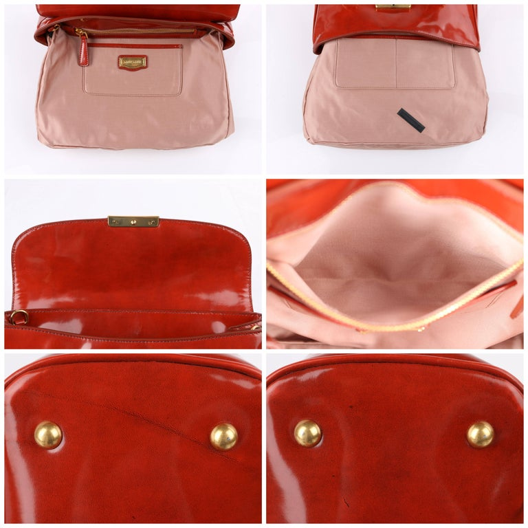 MIU MIU PRADA A/W 2012 Burnt Orange Spazzolato Leather Flap Top Handbag Purse For Sale 2