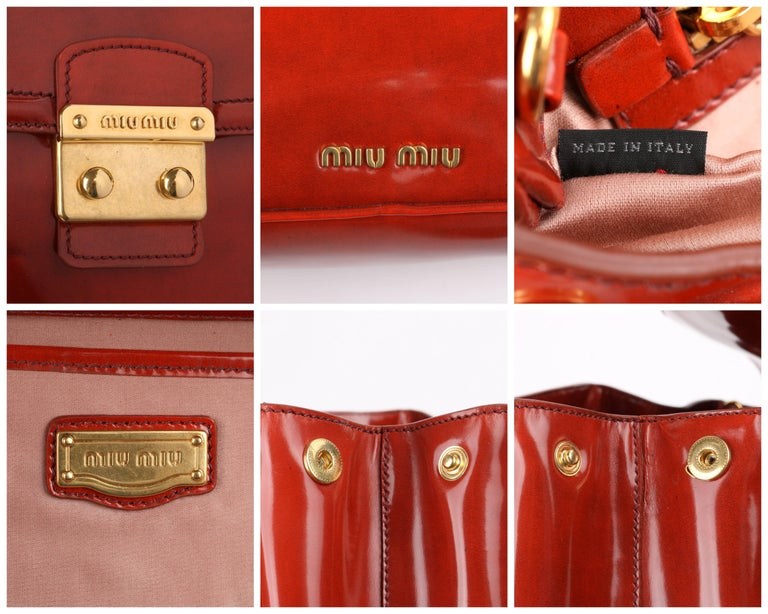 MIU MIU PRADA A/W 2012 Burnt Orange Spazzolato Leather Flap Top Handbag Purse For Sale 4
