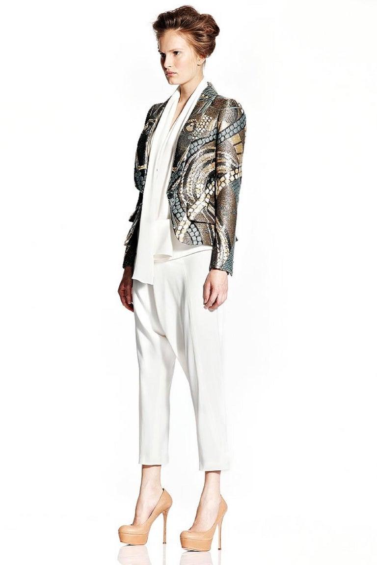 ALEXANDER McQUEEN Resort 2011 Khaki Crepe Fold Over Cropped Harem Pants For Sale 4