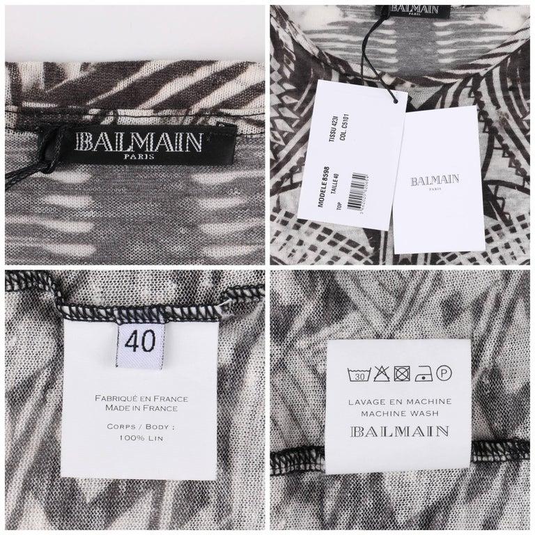 BALMAIN Resort 2012 Black & White Abstract Print Linen Knit Scoop Neck Top  For Sale 2