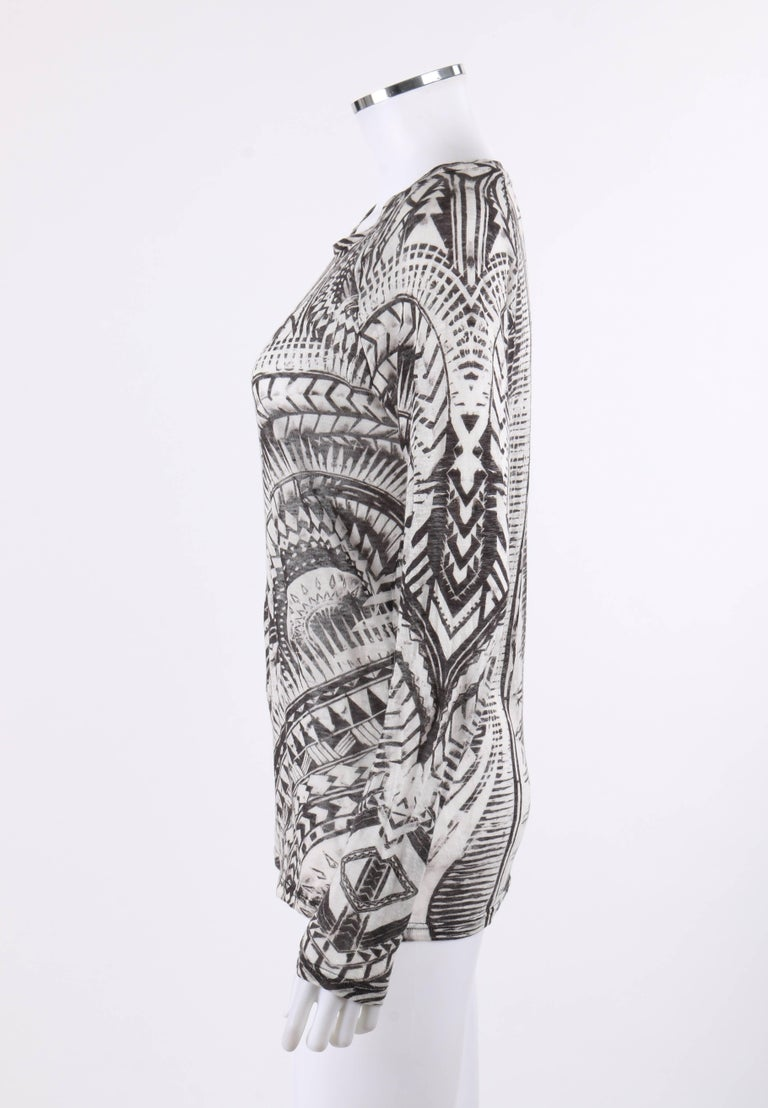 BALMAIN Resort 2012 Black & White Abstract Print Linen Knit Scoop Neck Top  For Sale 1