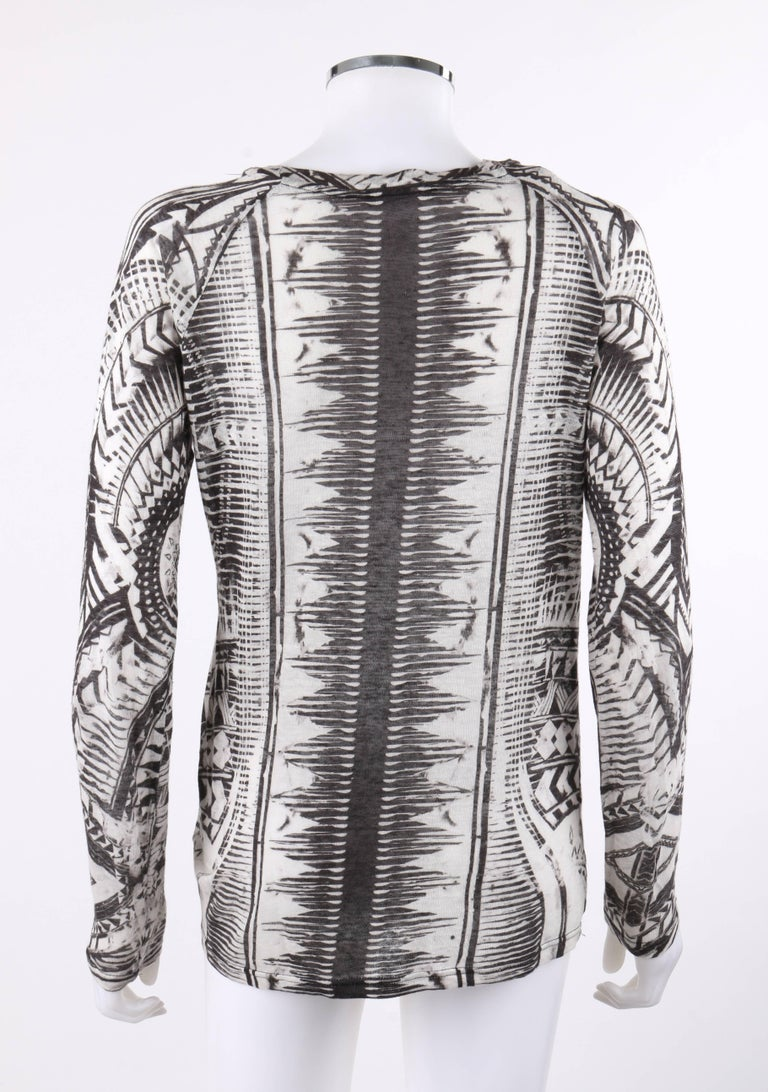 Women's BALMAIN Resort 2012 Black & White Abstract Print Linen Knit Scoop Neck Top  For Sale