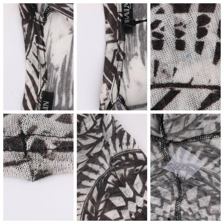 BALMAIN Resort 2012 Black & White Abstract Print Linen Knit Scoop Neck Top  For Sale 3