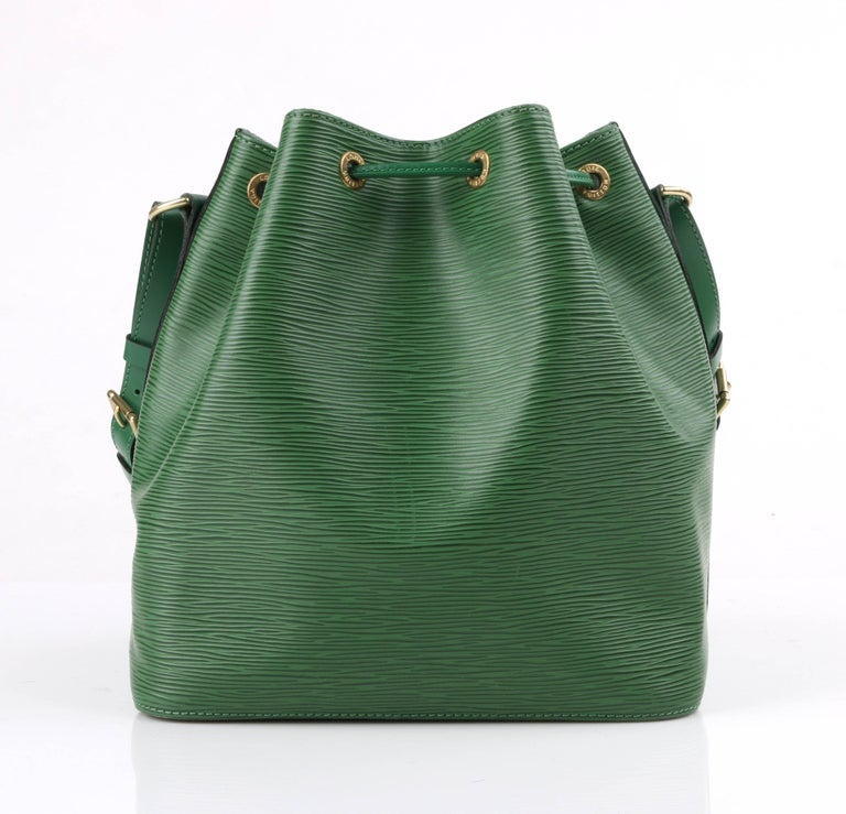 Louis Vuitton C.1997 petit Noe Green Epi Leather Drawstring Shoulder Bag Purse 4Xm9r5pNX