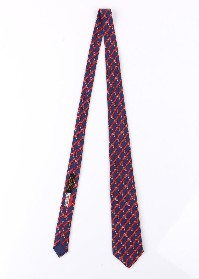 Black HERMES c.1980's Navy Blue & Red Equestrian Belt 5 Fold Silk  Necktie Tie 954 IA For Sale