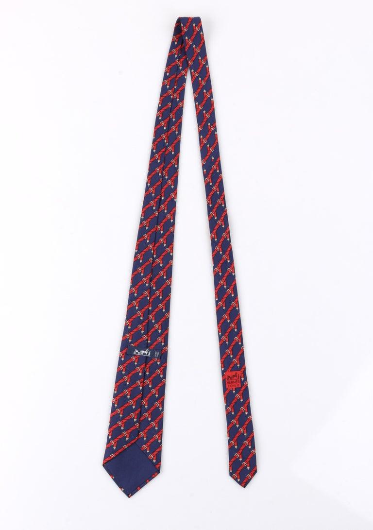 HERMES c.1980's Navy Blue & Red Equestrian Belt 5 Fold Silk  Necktie Tie 954 IA In Good Condition For Sale In Thiensville, WI