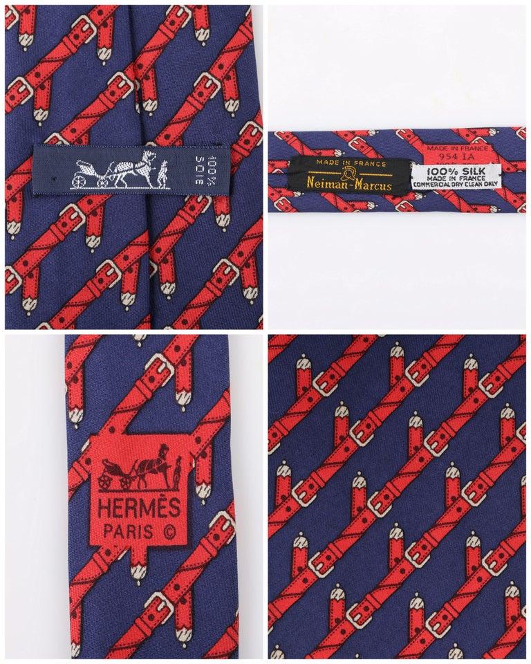 HERMES c.1980's Navy Blue & Red Equestrian Belt 5 Fold Silk  Necktie Tie 954 IA For Sale 1