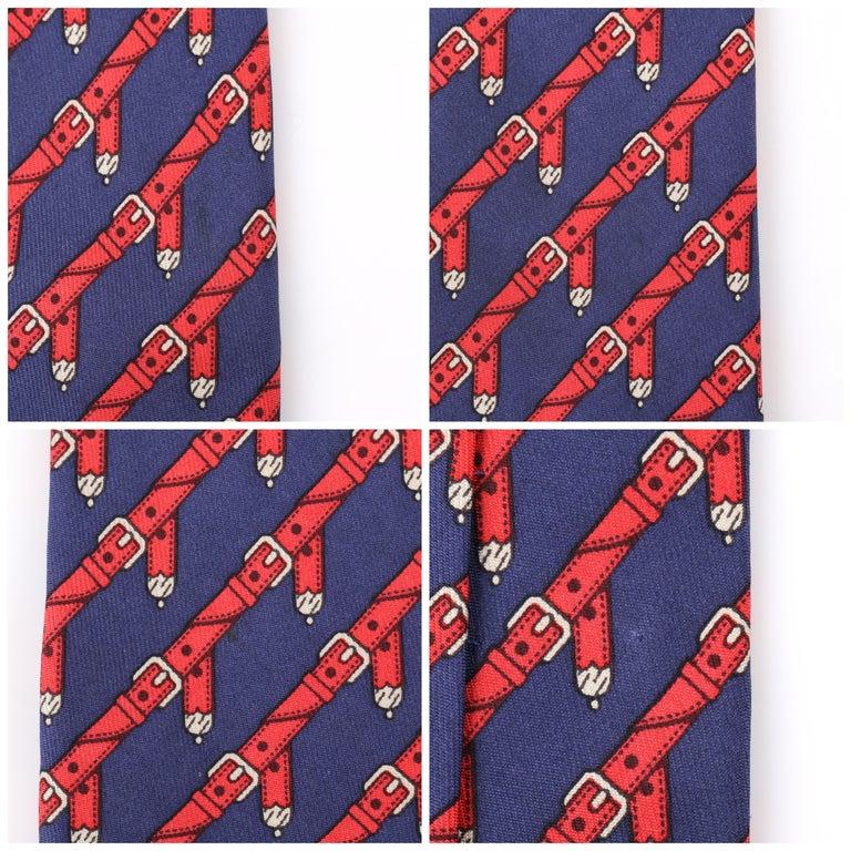 HERMES c.1980's Navy Blue & Red Equestrian Belt 5 Fold Silk  Necktie Tie 954 IA For Sale 2
