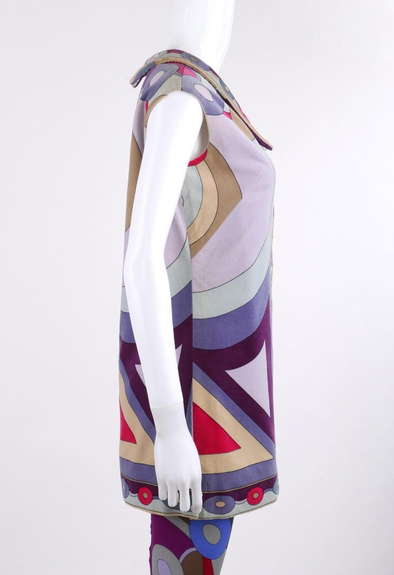 Gray EMILIO PUCCI c.1967 2 Pc Bubble Op Art Signature Velvet Tunic Dress Tights Set For Sale