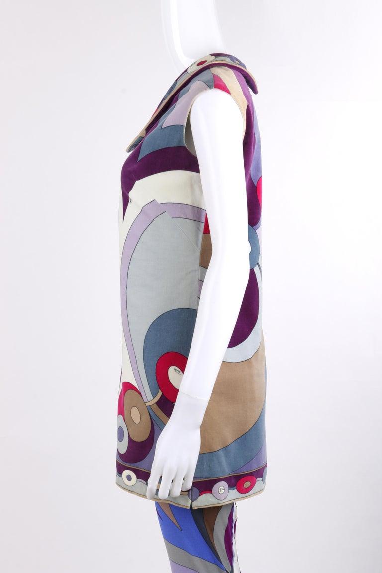 Women's EMILIO PUCCI c.1967 2 Pc Bubble Op Art Signature Velvet Tunic Dress Tights Set For Sale