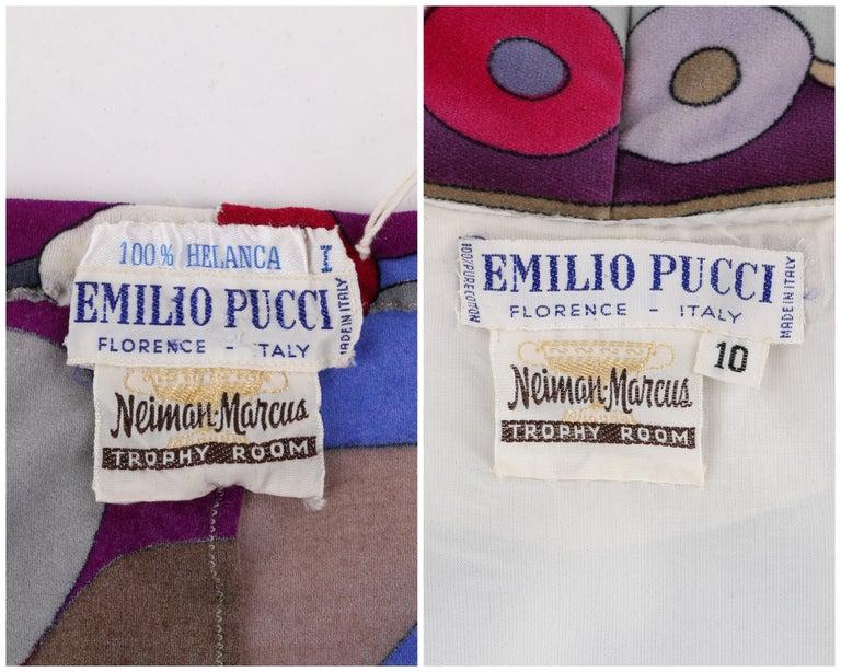 EMILIO PUCCI c.1967 2 Pc Bubble Op Art Signature Velvet Tunic Dress Tights Set For Sale 3